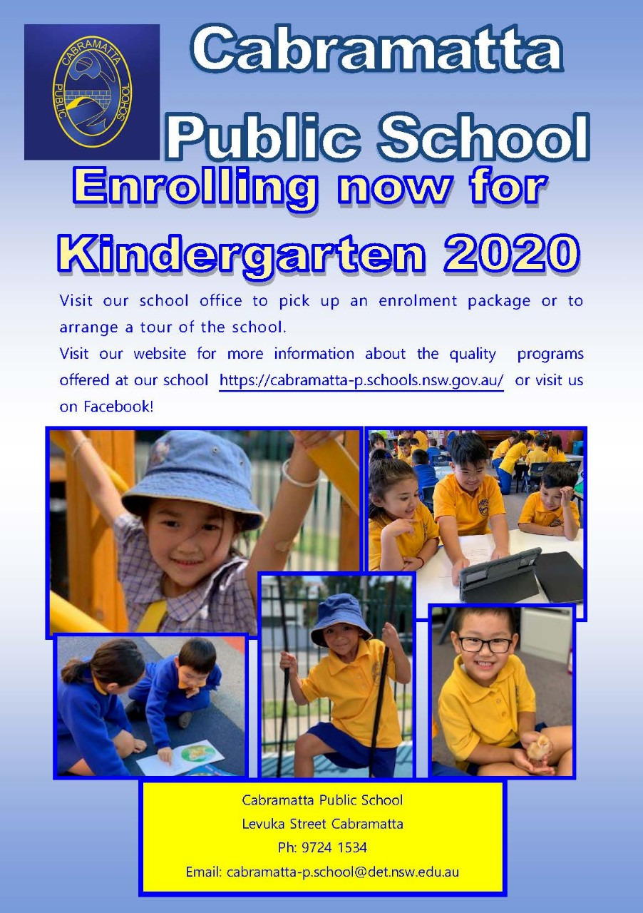 Cabramatta Public School is enrolling now for  Kindergarten 2020. Come and visit our school office for an enrolment package or to arrange a tour of our school.