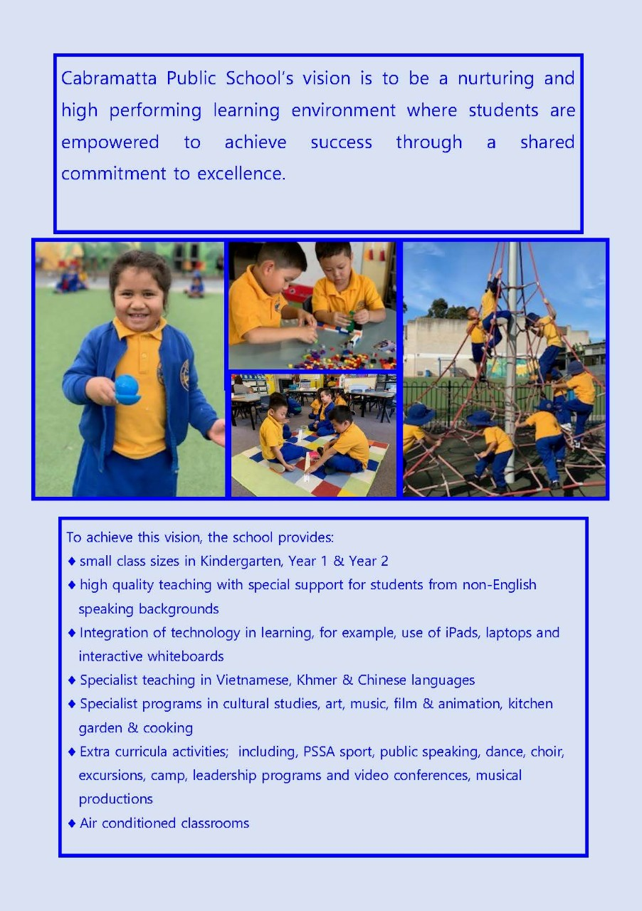 Cabramatta Public School's vision is to be a nurturing and high performing learning environment where students are empowered to achieve success through a shared commitment to excellence.